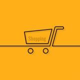 Shopping cart line design background Stock Image