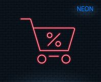Shopping cart line icon. Online buying sign. Neon light. Shopping cart with Percentage line icon. Online buying sign. Supermarket basket symbol. Glowing graphic Royalty Free Stock Photos