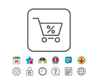 Shopping cart line icon. Online buying sign. Shopping cart with Percentage line icon. Online buying sign. Supermarket basket symbol. Calendar, Globe and Chat Royalty Free Stock Photography