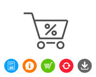 Shopping cart line icon. Online buying sign. Shopping cart with Percentage line icon. Online buying sign. Supermarket basket symbol. Report, Information and Royalty Free Stock Photography