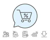 Shopping cart line icon. Online buying sign. Shopping cart with Percentage line icon. Online buying sign. Supermarket basket symbol. Report, Sale Coupons and Royalty Free Stock Image