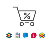 Shopping cart line icon. Online buying sign. Shopping cart with Percentage line icon. Online buying sign. Supermarket basket symbol. Report, Service and Stock Photos