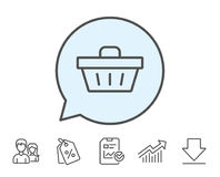 Shopping cart line icon. Online buying sign. Royalty Free Stock Image