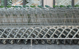 Shopping cart lined up Stock Image