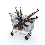 Shopping cart loaded with the kalashnicov for purchase Royalty Free Stock Photography