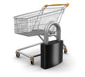 Shopping Cart and lock (clipping path included) Stock Image