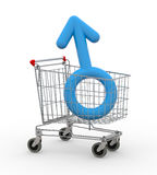 Shopping cart with male symbol inside Royalty Free Stock Photography