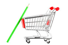 Shopping cart with many pencil Royalty Free Stock Photos