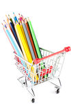 Shopping cart with many pencils Royalty Free Stock Image