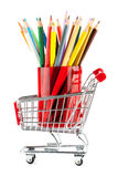 Shopping cart with many pencils Stock Photos