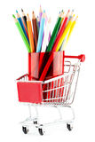 Shopping cart with many pencils Stock Image