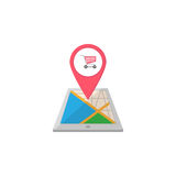 Shopping cart map pointer flat icon, mobile gps Stock Photo