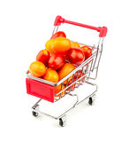 Shopping cart with massive multicolored grape tomatoes Stock Photography