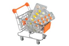 Shopping cart with medical supplies isolated on white Royalty Free Stock Images