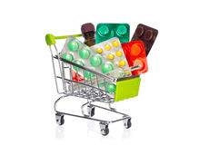 Shopping cart with medication Royalty Free Stock Images