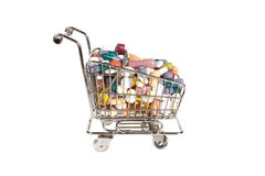 Shopping cart with medicine Stock Images