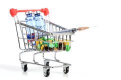 Shopping cart and medicine Stock Photography