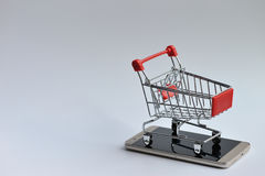 Shopping Cart on the mobile Stock Photo