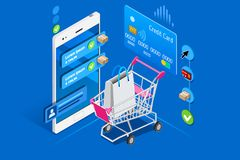 Shopping cart mobile interface user phome. Cart and shopping interface on user phone, isometric concept. Shopping illustration for web banner, infographics, hero Royalty Free Stock Photo