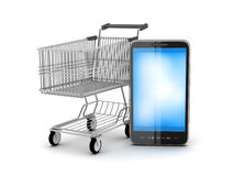 Shopping cart and mobile phone Stock Images