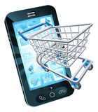 Shopping cart mobile phone. Mobile phone with shopping cart flying out, concept for shopping online or for apps or mobile phone Royalty Free Stock Photo