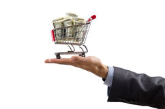 Shopping cart of money Royalty Free Stock Photo