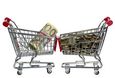 Shopping Cart with money Royalty Free Stock Images