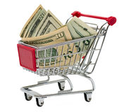 Shopping cart with money Royalty Free Stock Photo