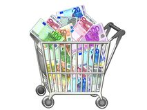 Shopping cart with money Royalty Free Stock Photography