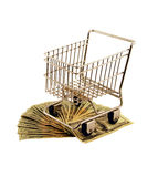 Shopping Cart with money. Shopping cart made of metal used for carrying groceries with money in the form of many large bills Royalty Free Stock Photo