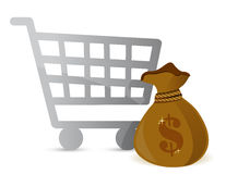 Shopping Cart & Money Bag Sign Stock Images