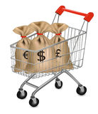 Shopping cart with money bags Stock Photos