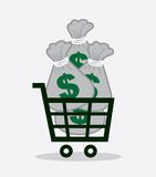 Shopping Cart Money Bags Stock Image