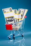 Shopping cart and money Royalty Free Stock Photos
