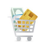 Shopping cart and money concept illustration Royalty Free Stock Image