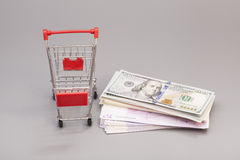 Shopping cart with money (dollar, euro) Royalty Free Stock Images