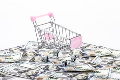 Shopping cart on money Stock Photo