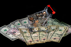 Shopping Cart and Money Royalty Free Stock Images