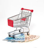 Shopping cart and money isolated Stock Image