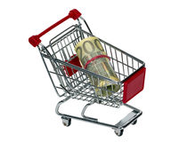 Shopping Cart with money Royalty Free Stock Photos