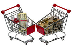 Shopping Cart with money Stock Photography