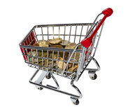 Shopping Cart with money Stock Image