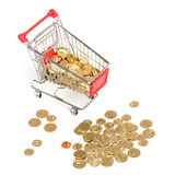 Shopping Cart with money on white Royalty Free Stock Photography