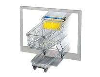 Shopping Cart and Monitor Stock Images