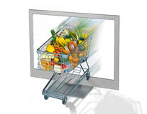 Shopping Cart and Monitor. Shopping Cart with food and monitor as a symbol for online shopping Stock Photos