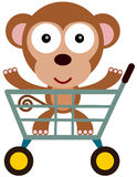 Shopping cart monkey Royalty Free Stock Photos