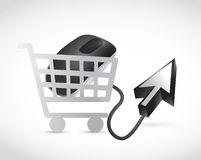 Shopping cart mouse and cursor illustration Royalty Free Stock Photo