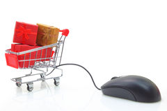Shopping cart with mouse Stock Images