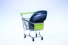 Shopping cart and mouse Royalty Free Stock Photo