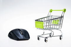 Shopping cart and mouse Stock Image
